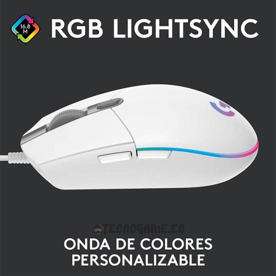 mouse gamer logitech g203 blanco - 1