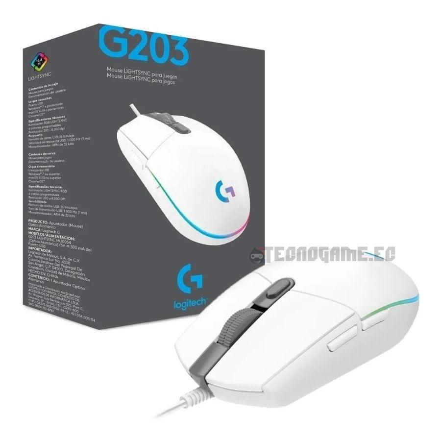 mouse gamer logitech g203 blanco - 3